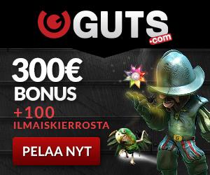 GUTS ANTAA 100 ILMAISTA KIERROSTA + 100% BONUKSEN