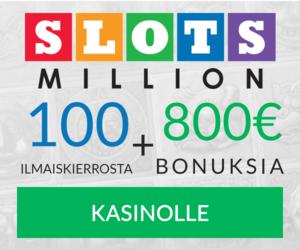 100 ilmaista kierrosta ja 800 euroa Slotsmillion kanssa tänään
